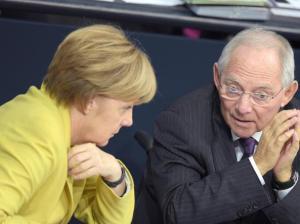 Merkel e il ministro delle finanze