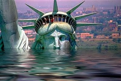 statue of liberty under water