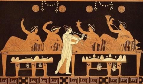illustrazione greca raffigurante un banchetto