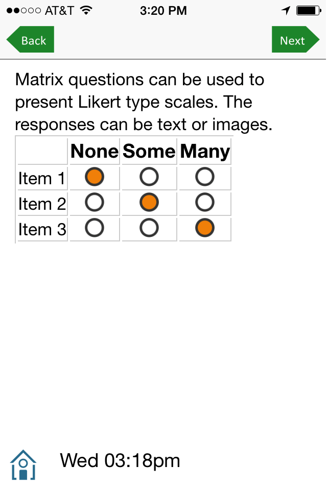 Matrix for Likert-type scales