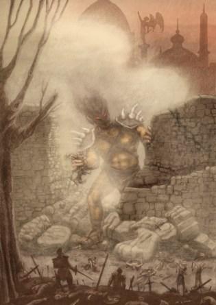 Un gigante aparece detrás de una muralla que acaba de derrumbar. Tres guerreros intentan escaparse de una de sus manos y otro agoniza debajo de su pie. Otros lo intentan atacar lanzándole flechas. En el primer plano se ve un hombre erguido con su espada rodeado de cadáveres. En el último plano pueden verse las cúpulas y esculturas de la ciudad atacada.