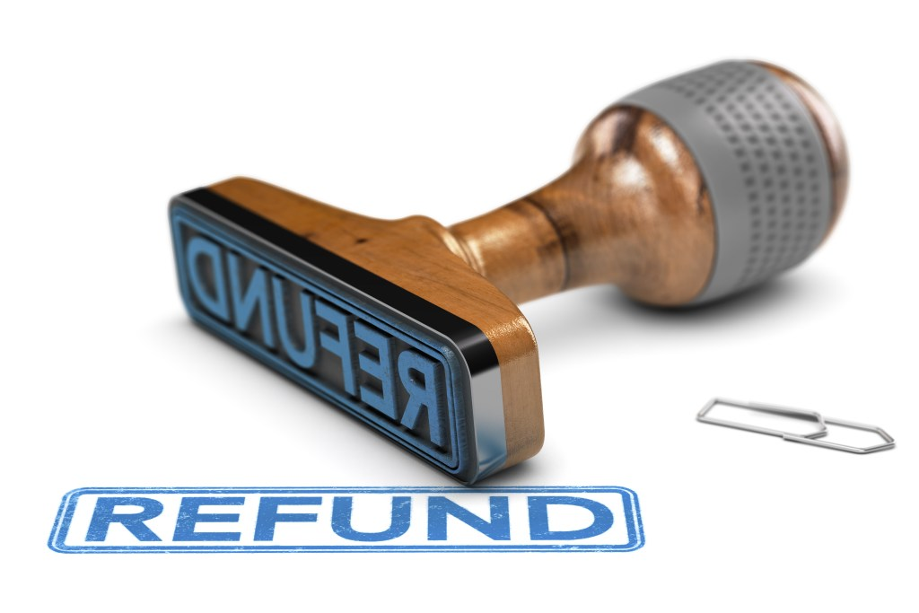 "An illustration showing a rubber ink stamp with the word ""Refund"" in blue ink."