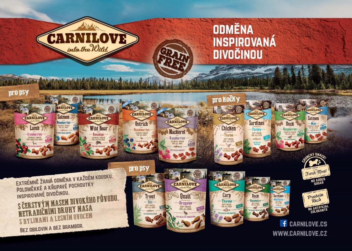 Kompletní krmivo Carnilove Fresh je dostupné ve třech nových recepturách pro psy a dvou pro kočky. Receptury kapr & pstruh a kuře & králík jsou pro obě skupiny mazlíčků společné, psi si navíc pochutnají na variantě pštros & jehně.