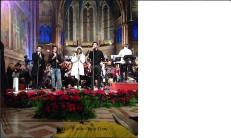 Il Volo in Basicilica.  Rehearsing with Stacy Francis.