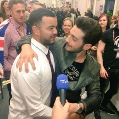 @tvsorrisi - Gianluca and tv host before the interview - Eurovision - 2015