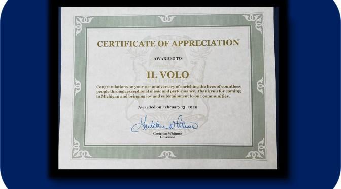 Michigan Honors Il Volo's 10th Anniversary Feb 13, 2020