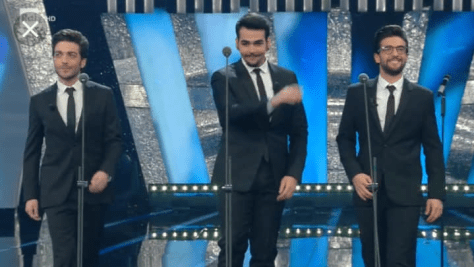 Left to right: Gianluca, Ignazio and Piero on stage at Saremo after singing NESSUN DORMA