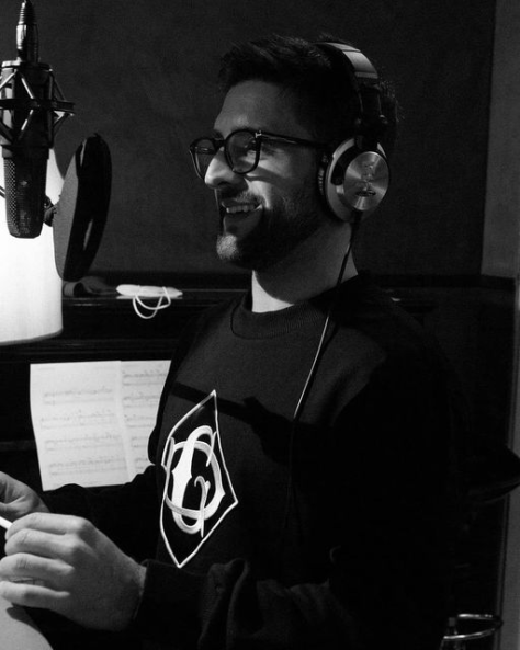 Piero in the recording studio in front of a microphone