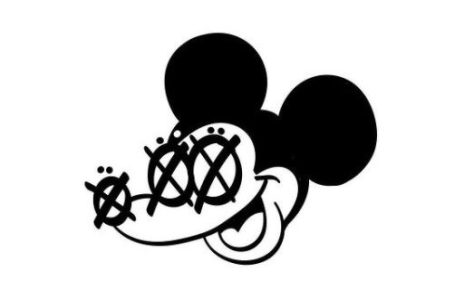 Black and while illustration of a Mickey Mouse type character