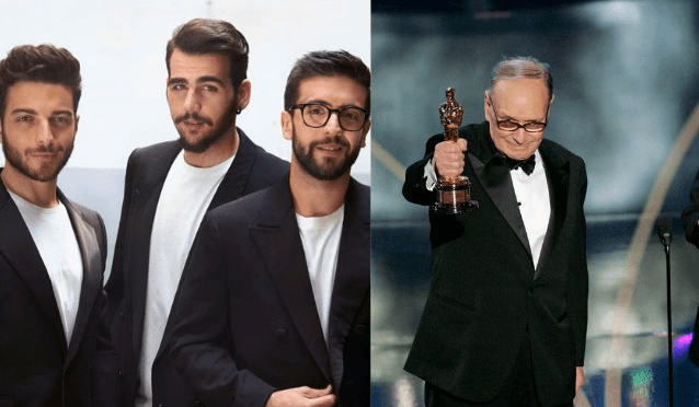 On the left IL VOLO - on the right Ennio Morricone accepting his Grammy award