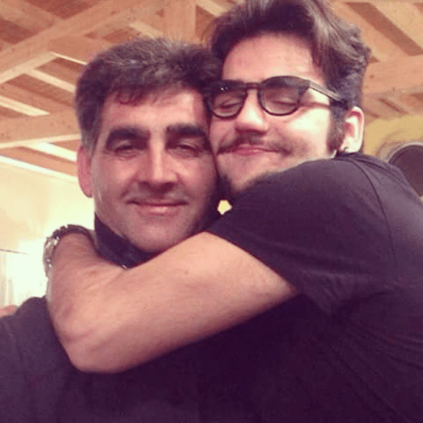 Ignazio hugging his dad, Vito