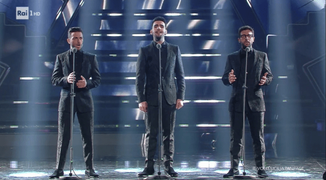Left to right: Gianluca, Ignazion and Piero singing on the Ariston stage