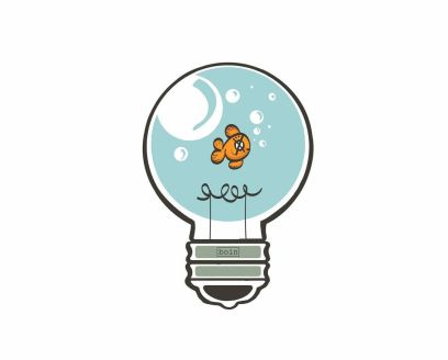 Color illustration of light bulb with an orange fish inside