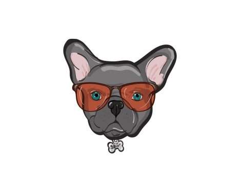 Color illistration of a dog with red glasses