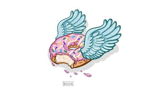 Color illustration of a flying donut with pink icing and sprinkles