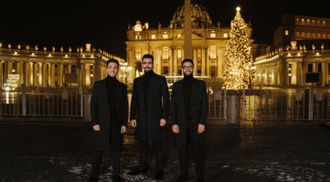 Left to right: Gianluca, Ignazio and Piero standing in front of St. Peter's Basilica