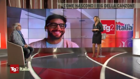 Michele and Marzia with Piero smiling on screen