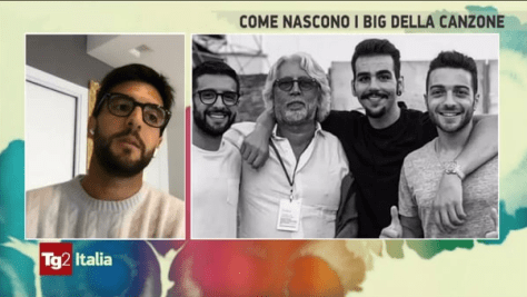 Piero on screen with a photo of Michele and IL VOLO to the right