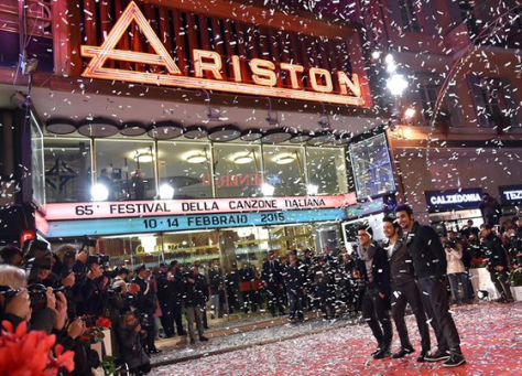 IL VOLO outside the Ariston Theater with confetti flying