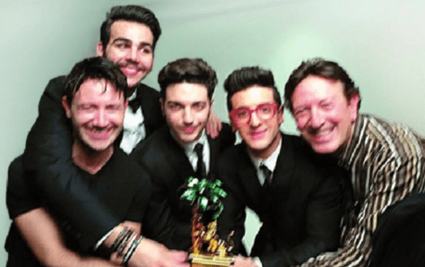 Il Volo with Francesco Boccia and Grande Amore song writersCiro Esposito