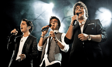 Left to right: A young Gianluca, Piero and Ignazio singing