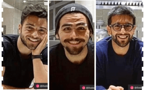 Left to right: Gianluca, Ignazio and Piero collage of all three of them smiling
