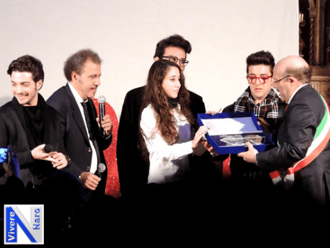 Piero being declared honorary Ambassador of Naro in the World, with Gianluca and Ignazio also present