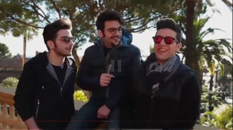 Left to right: Gianluca, Ignazio and Piero outside near a wall Day 4