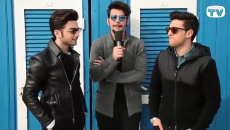 Left to right: Gianluca, Ignazio and Piero outside in front of a beach cabana Day 5