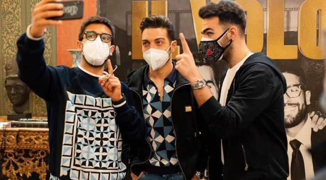Left to right: Piero, Gianluca and Ignazio in masks taking a selfie