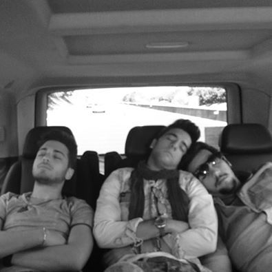 Left to right: Gianluca, Piero and Ignazio asleep in the back seat of their tour car
