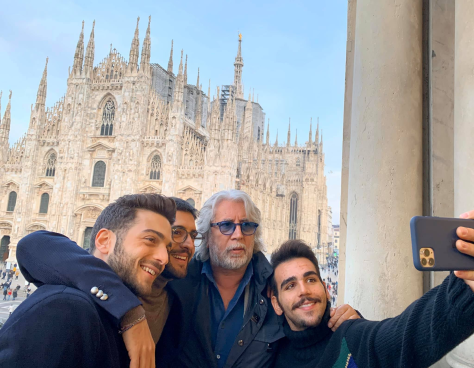 IL VOLO and Michele Torpedine taking a selfie on a balcony in Milan with the Duomo in the background