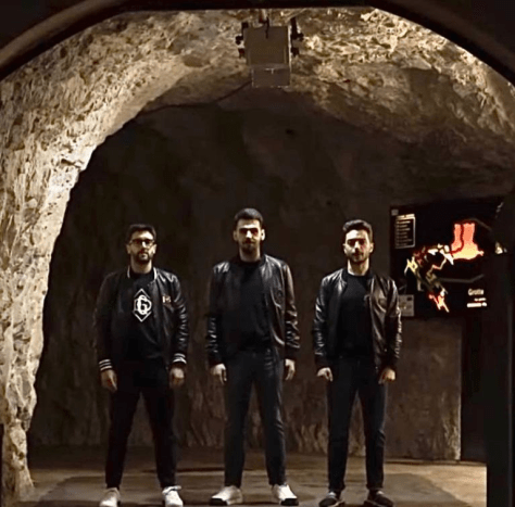 Left to right: Piero, Ignazio and Gianluca in the Frasassi Caves