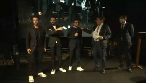 Left to right: Piero, Gianluca and Ignazio with the presenter inside the caves