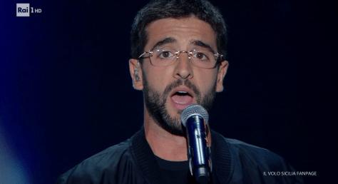 Closeup of Piero singing