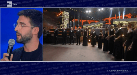 Piero closeup on left with photo of the Morricone tribute concert on the right