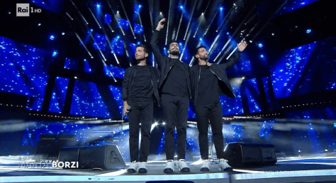 IL VOLO smiling on stage after their song is done