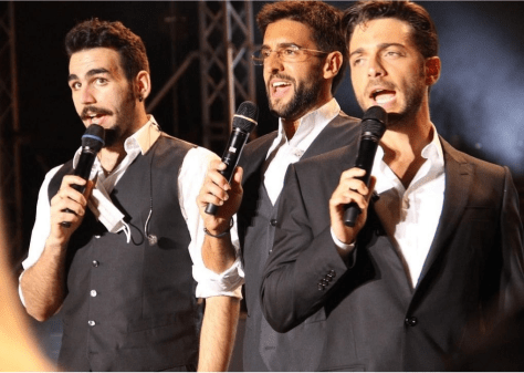Closeup of IL VOLO on stage singing