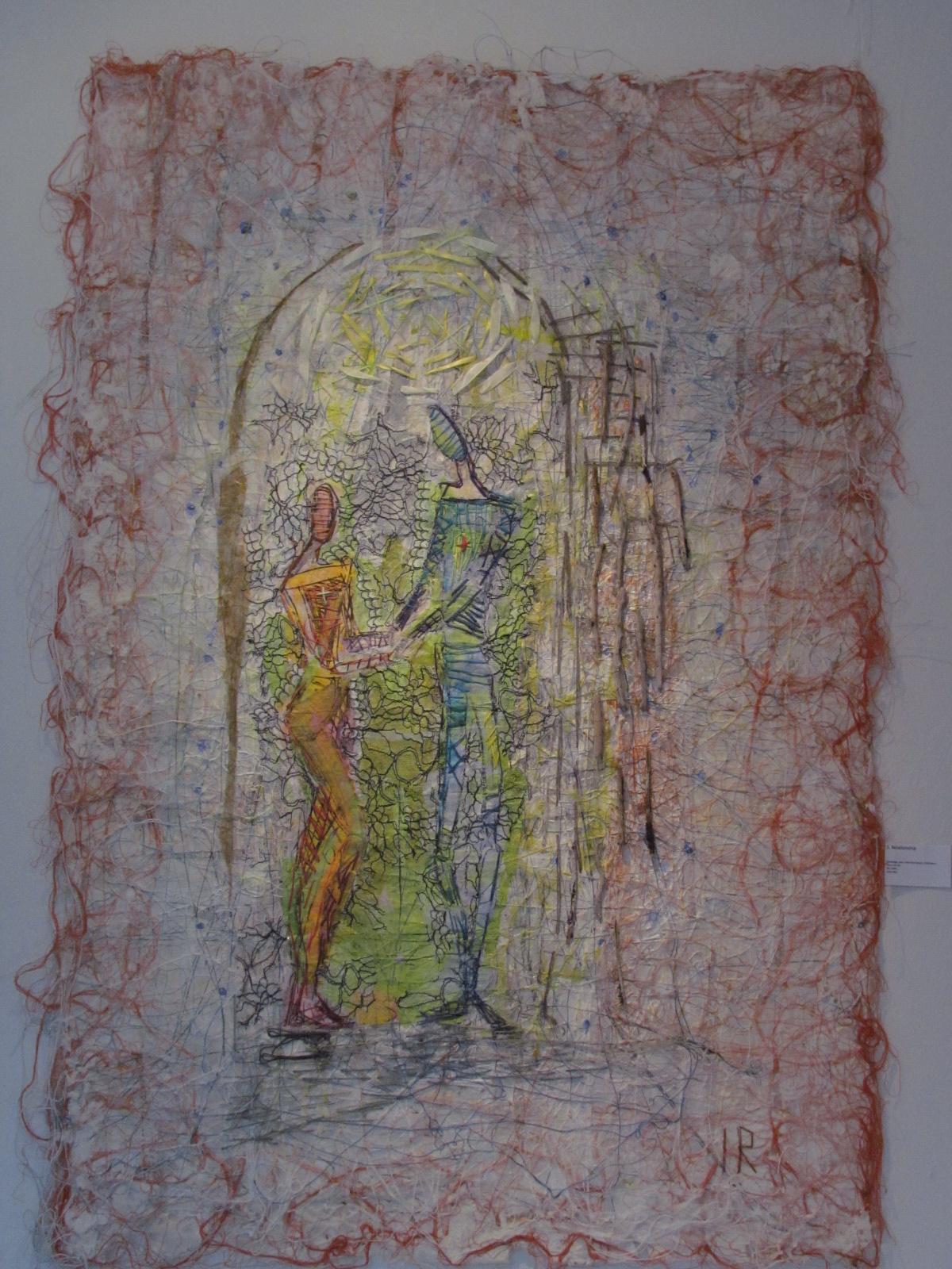 """Tekstil collage """"Forhold"""""""""""