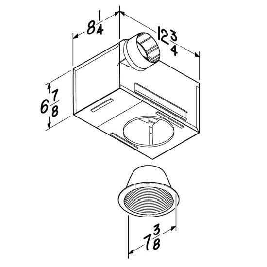 BRL-744NT Bathroom Fans 70 CFM Recessed Fan/Light with