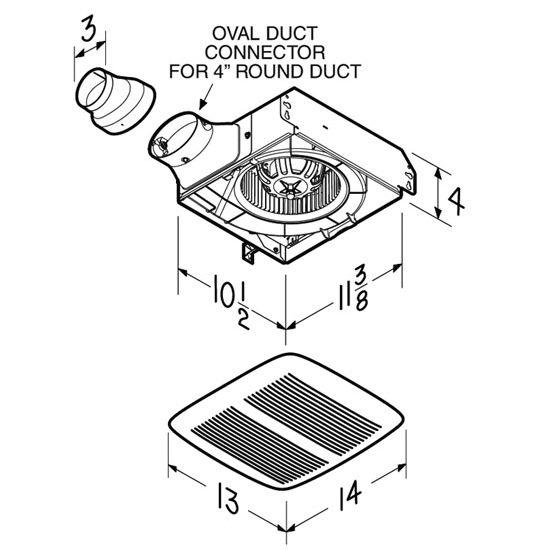 BRL-LPN80 Bathroom Fans 80 CFM LoProfile Ventilation Fan
