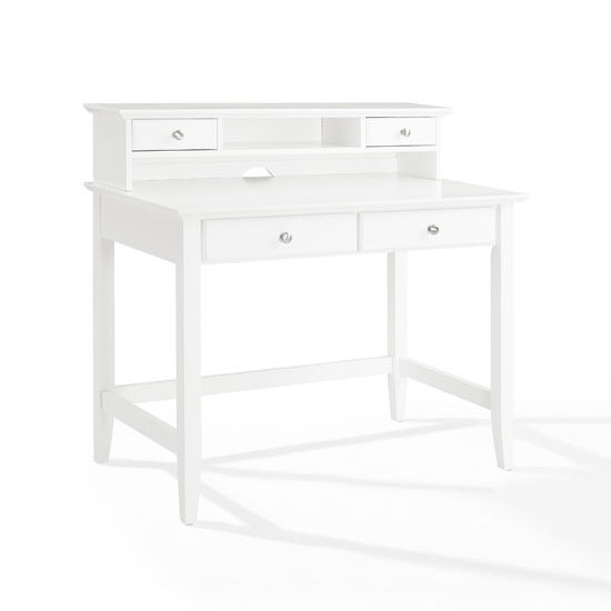 Campbell Writing Desk with Hutch, White Finish, Measuring
