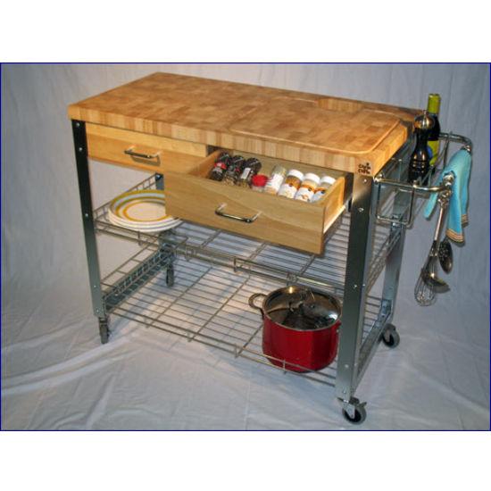 kitchen work station over the sink light chris stadium workstation cart end grain top zinc plated frame kitchensource com