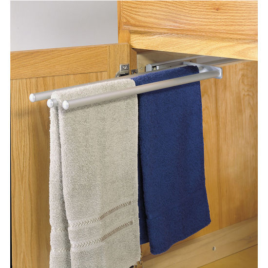 kitchen towel hanger steel table hafele pull out racks for or vanity cabinet kitchensource com