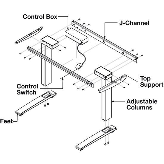 Hafele Steel AdjusTableSystem Conversion Electric Table