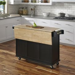 Drop Leaf Kitchen Cart Cabinet For Sale Liberty Wood Top Mobile W/ Or Stainless ...