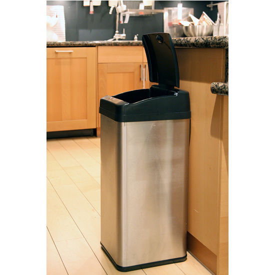 13 gallon kitchen trash can ge artistry cans - extra-wide stainless steel ...