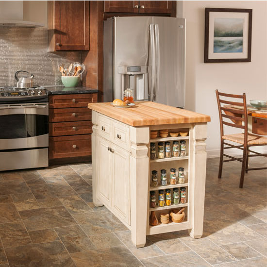 Jeffrey Alexander Loft Kitchen Island With Hard Maple Edge Grain