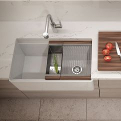 Undermount Stainless Steel Kitchen Sinks With Glass Cabinet Doors Fira Collection Single Fireclay Bar ...
