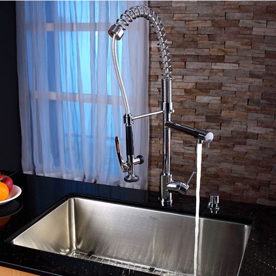 stainless steel kitchen faucet with pull down spray square oak table kraus single lever out pull-down ...